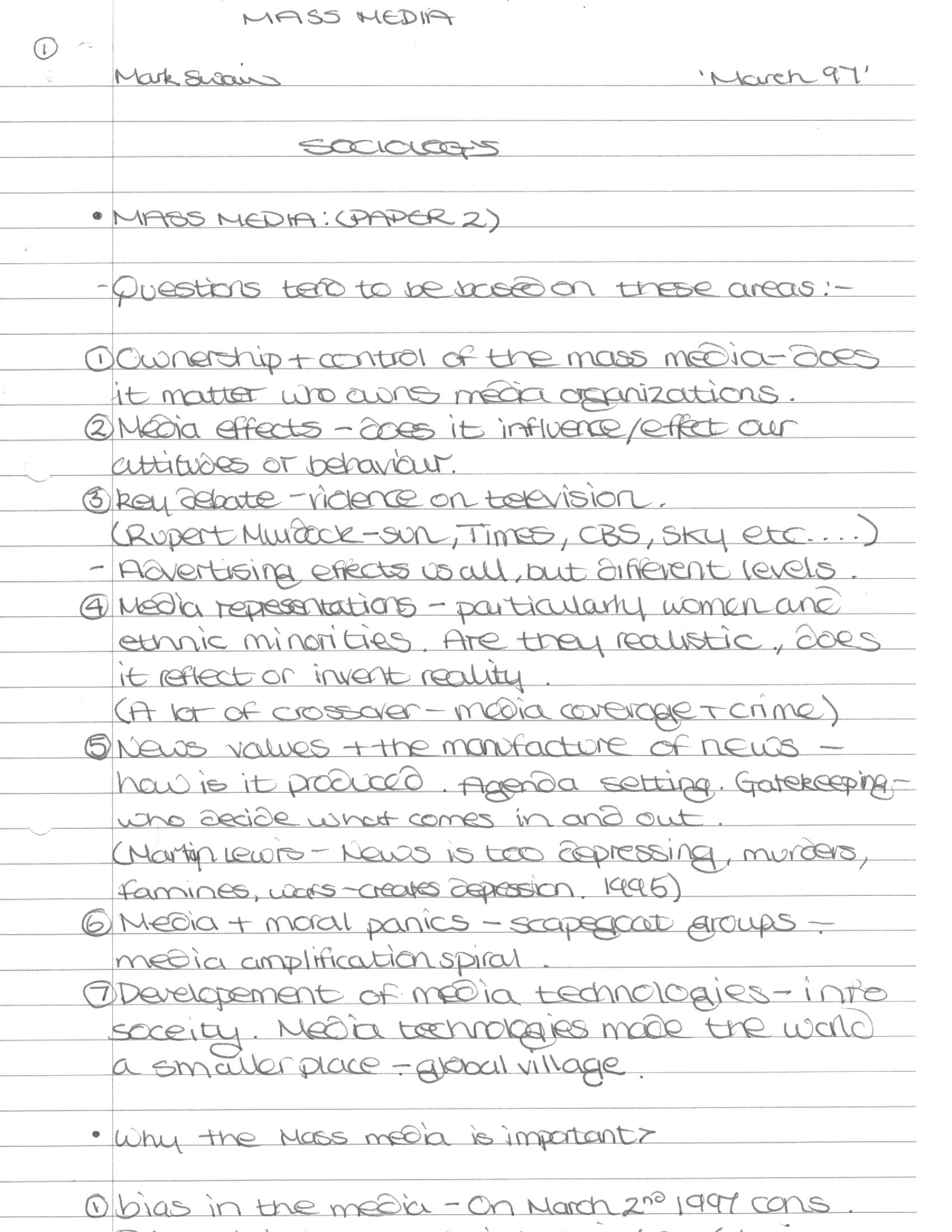 sociology gcse mass media notes Has anyone completed their a-level mass media notes for sociology thanks.